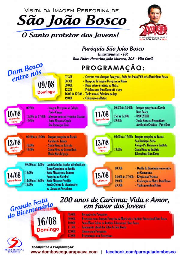 Domingo é a grande festa do Bicentenário de Dom Bosco